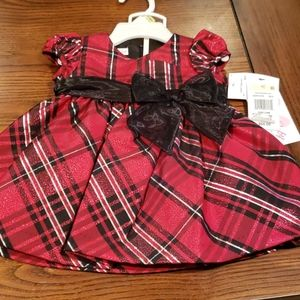 Holiday plaid sparkling baby dress